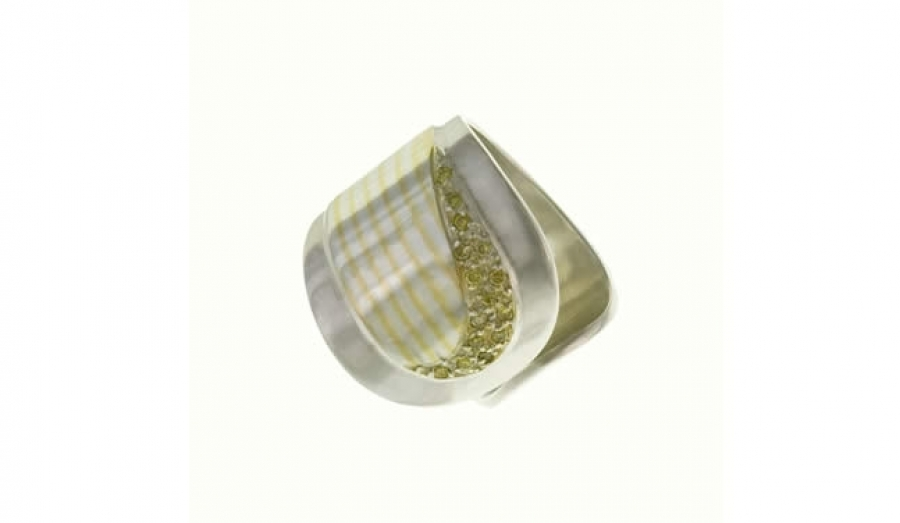 RING WITH SILVER AND GOLD(PRECIOUS MOKUME)AND YELLOW DIAMONDS-CHEVA